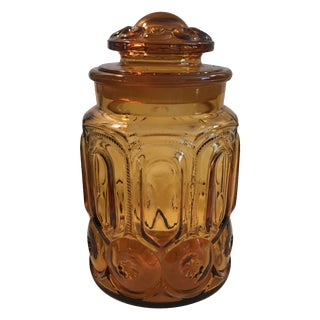 Vintage Amber Glass Apothecary Lidded Jar