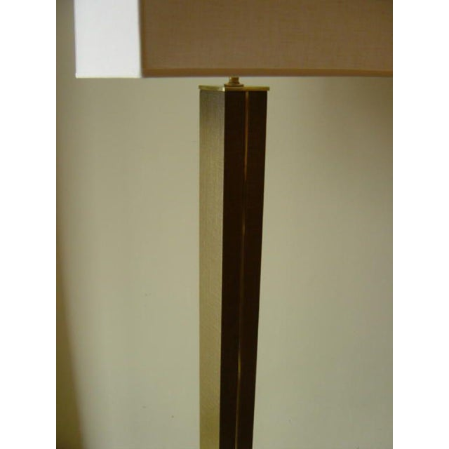 Karl Springer Linen and Brass Floor Lamp - Image 6 of 6