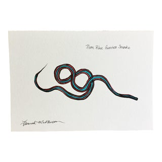 Neon Blue Garter Snake No. 5 Original Painting