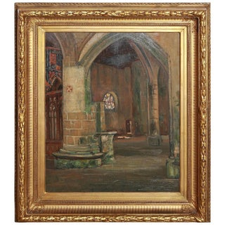 Giltwood Framed French Oil Painting on Board by M. Canet