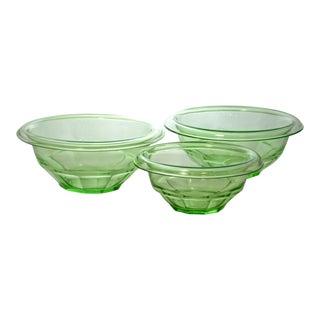 1940s Vintage Fluorescent Green Bowls - Set of 3