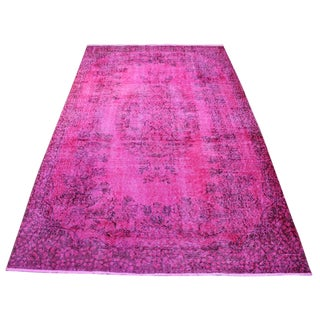"Overdyed Vintage Turkish Pink Rug - 5'4"" X 9'1"""