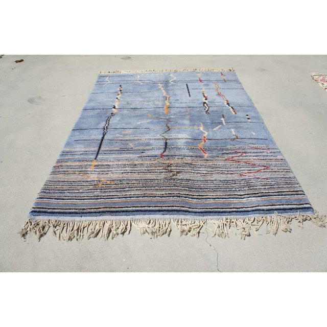 """Moroccan Light Blue Abstract Rug- 6'5"""" x 9' - Image 3 of 7"""