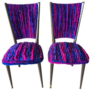 Vintage 1960s Furry Striped Accent Chairs - A Pair