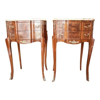 Louis XVI Style French Side Tables With Marble Tops - A Pair