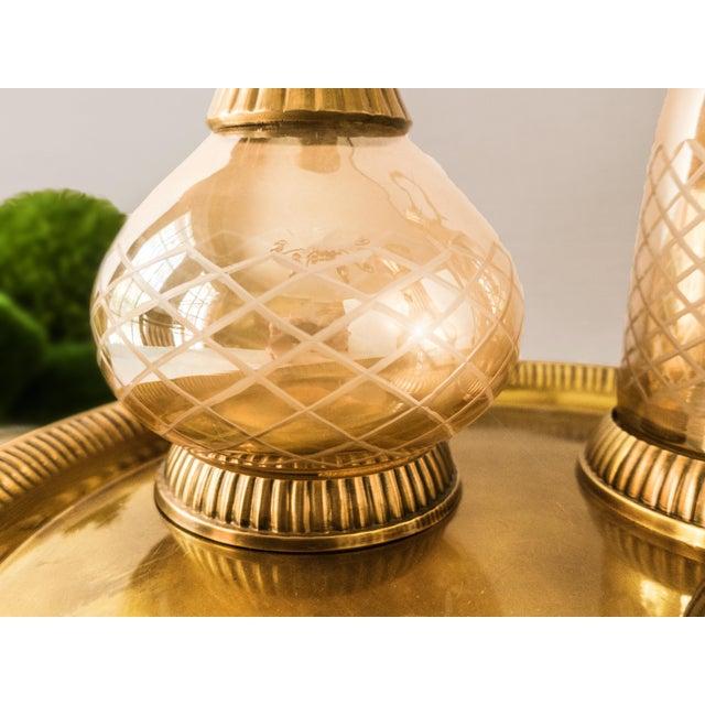 Vintage Brass & Iridescent Amber Crystal Decanter Set - Image 5 of 8