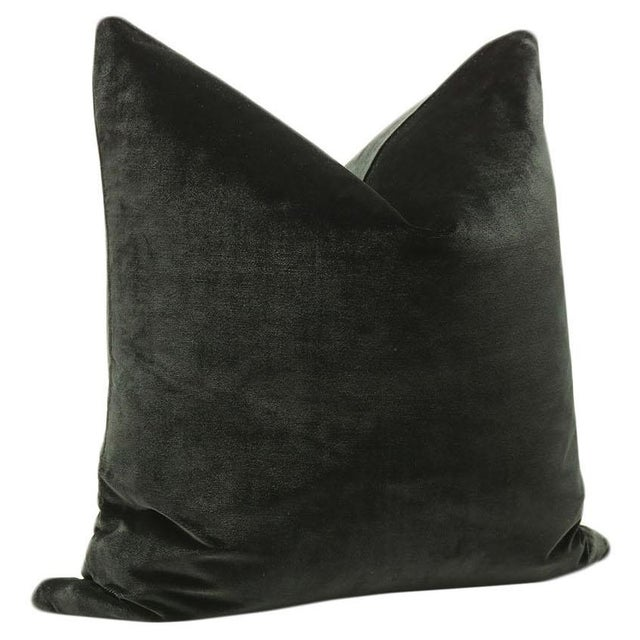 "22"" Italian Silk Velvet Pillows In Black Noir - A Pair - Image 3 of 3"