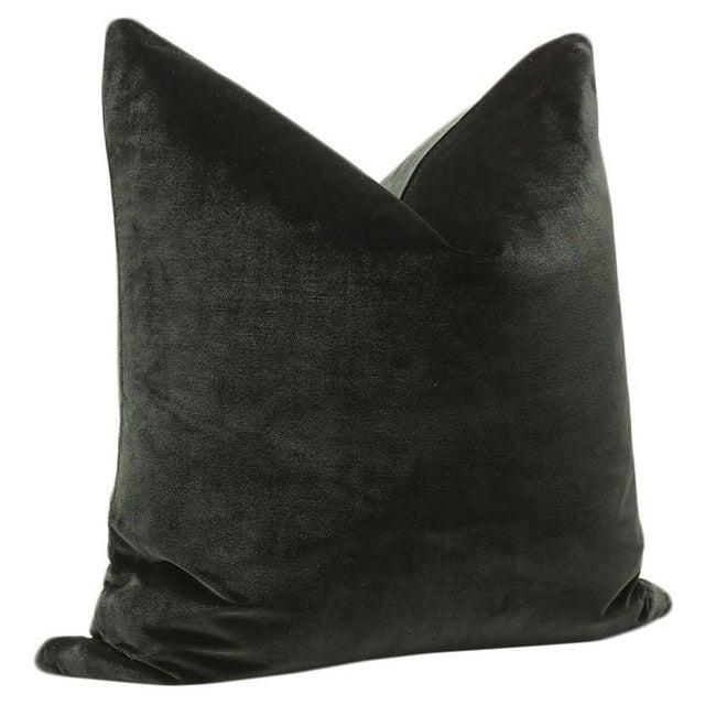 """22"""" Noir Italian Silk Velvet Pillows - a Pair - Image 3 of 3"""
