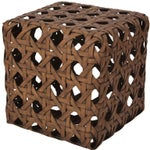Image of Woven Bamboo Ottomans - Pair