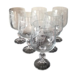 Etched Crystal Stemware Wine Goblets - Set of 6