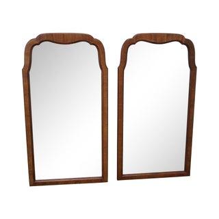 Walnut Frame Arch Top Wall Mirrors - A Pair