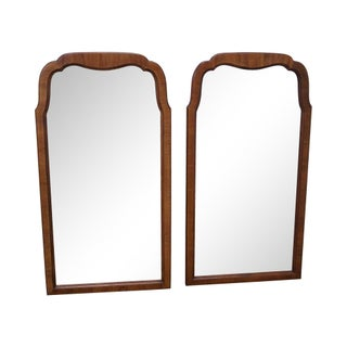 Walnut Frame Arch Top Wall Mirrors - A Pair