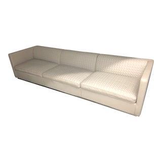 Luxury E Crew Leather Bentley Cross Stitched Sofa