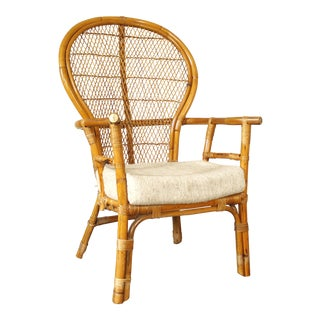 Vintage Rattan Fan Back Armchair