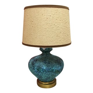 Mid-Century Turquoise Textured Lamp