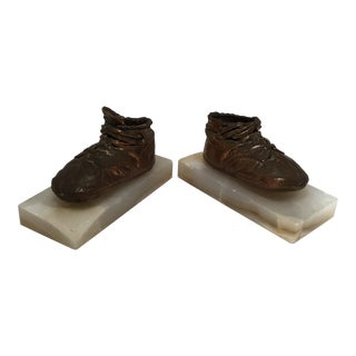 Antique Copper & Marble Baby Shoe Bookends - A Pair