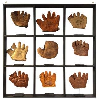 Rare Antique Miniature Children's Nine Custom Framed Baseball Gloves Mitt