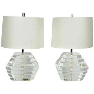Pair of Heavy Lucite Lamps by George Bullio