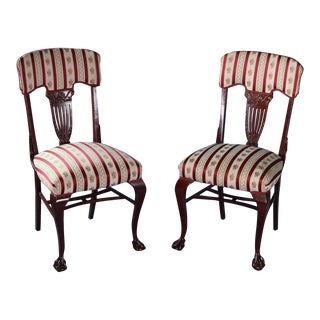 Antique Silk Upholstered Georgian Side Chairs - A Pair