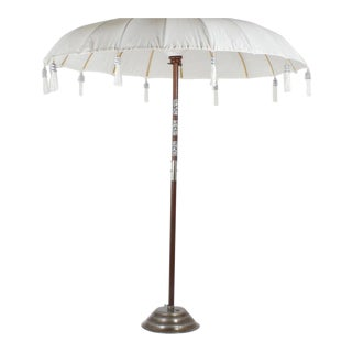 Exotic White Cotton Umbrella with Sandstone Base, Available Individually