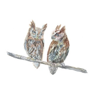 Owl Pair Original Watercolor Painting