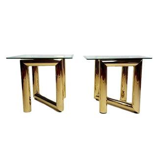 Karl Springer Tubular Brass Z End Tables - A Pair