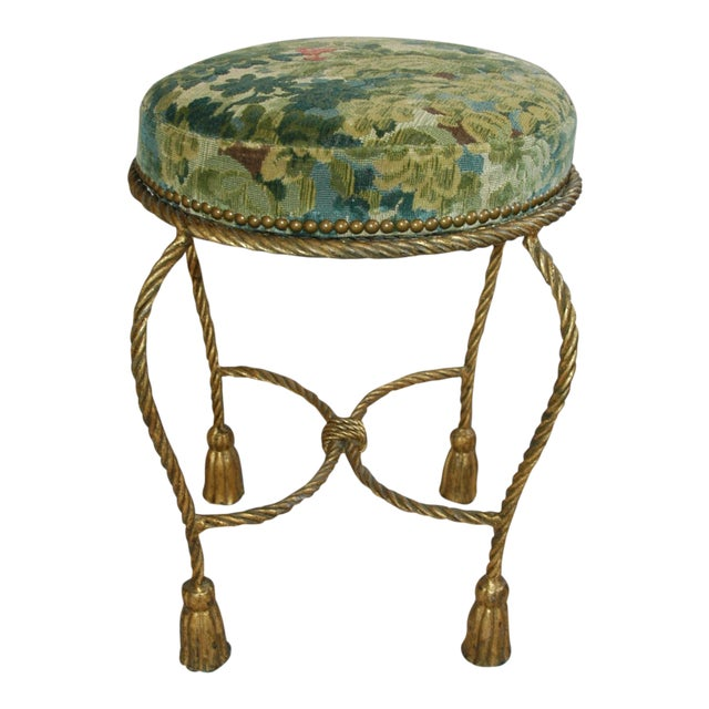 Italian Scalamandre Green Velvet Fabric Vanity Stool | Chairish