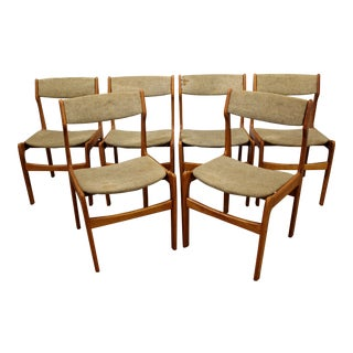 Set of 6 Mid-Century Danish Modern Teak Side Dining Chairs