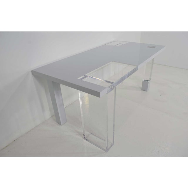 Unique Signed Lucite and White Lacquer Desk or Table - Image 5 of 10