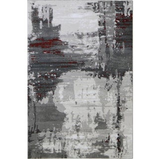 Contemporary Red Abstract Rug - 3' x 5""