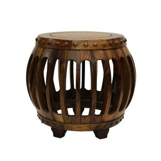 Chinese Rosewood Round Barrel Stool