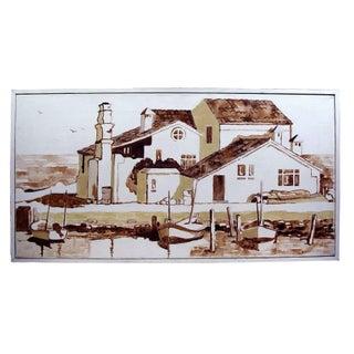 Sepia Toned Mediterranean Harbor Painting