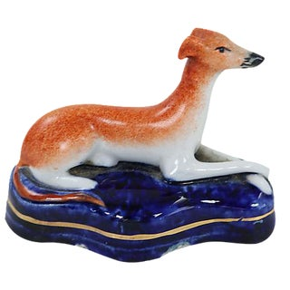 Antique English Staffordshire Whippet, C. 1870