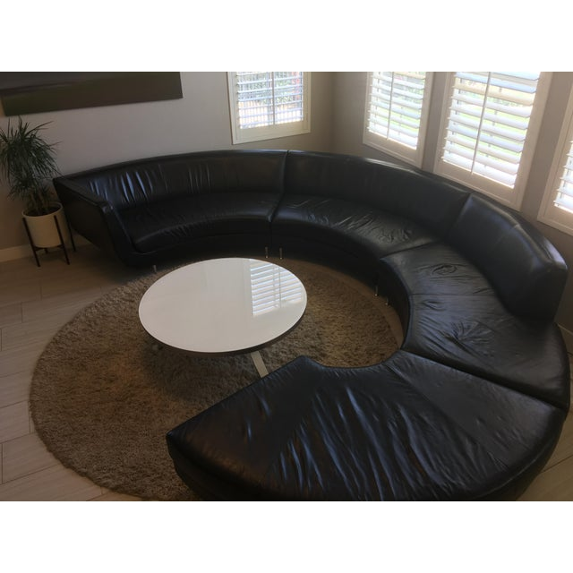 American Leather Black Leather Sectional - Image 8 of 11