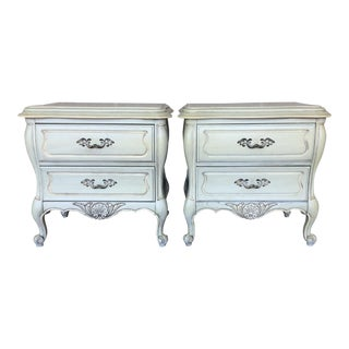 Hickory White French Provincial Bombay Nightstands - A Pair