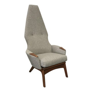 Adrian Pearsall Newly Upholstered Gray Tweed High Back Chair