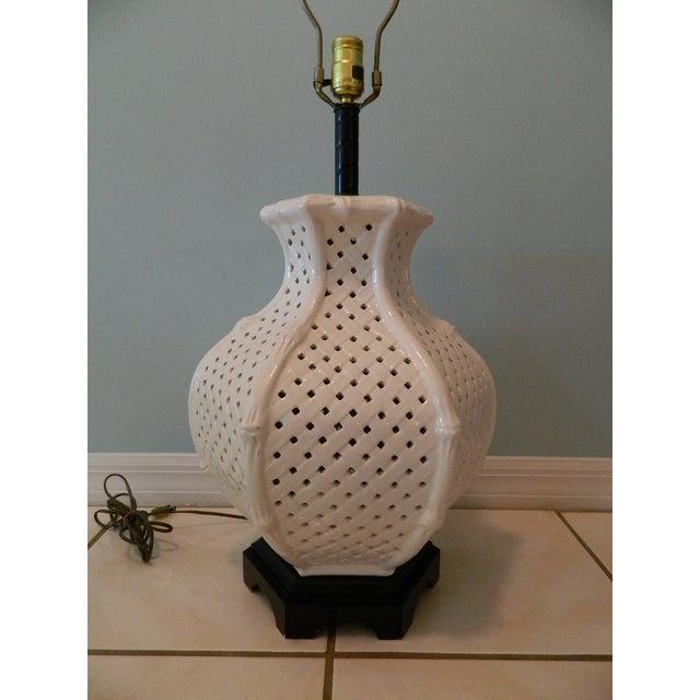 Vintage Nardini Blanc De Chine Pierced Lamp - Image 3 of 7