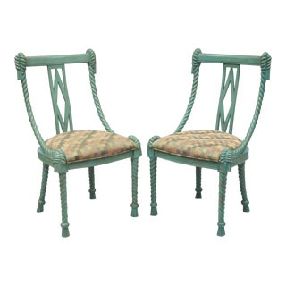 Andre Originals Italian Carved Green Wood Rope Tassel Dining Desk Chairs - a Pair
