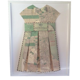 Framed 1903 San Francisco City Street Paper Art Dress