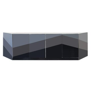 Pierre Cardin Credenza 1980s Modern Black & Grey Glass