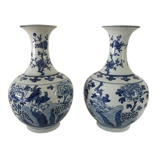 Bird and Forest Motif Hand-Painted Asian Mantle Vases - A Pair