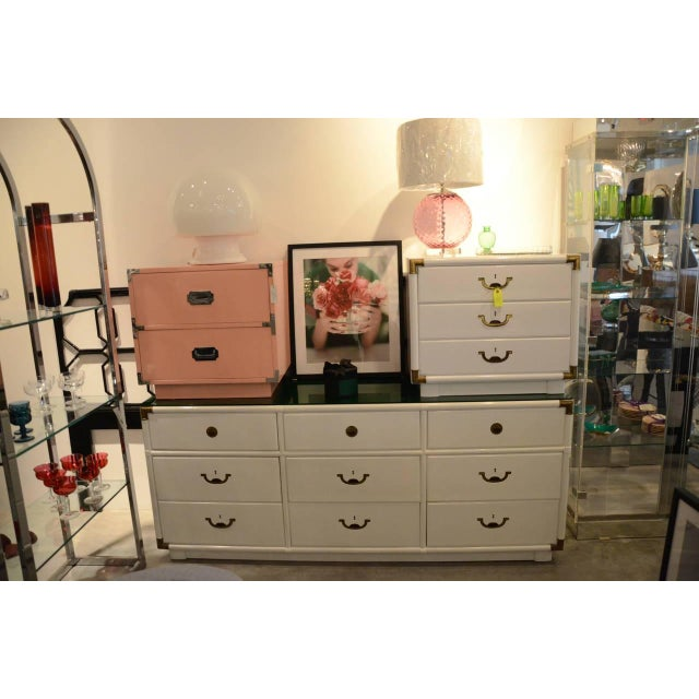Drexel Lacquered White with Emerald Lucite-Top Campaign Dresser - Image 7 of 9
