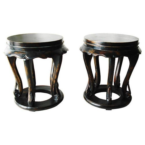 Chinese Low Table Stools - A Pair - Image 1 of 4