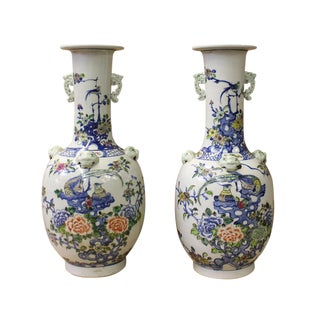 Chinese Off White Porcelain Flower Birds Dragon Foo Dogs Accent Vases - a Pair