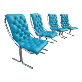 Turquoise Tufted Dining Chairs - Set of 4