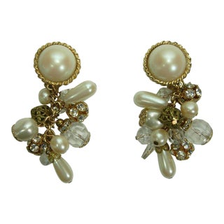 1970s Filigree Faux Pearls Lucite Earrings Runway