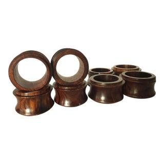 Dark Wood Napkin Rings- Set of 8