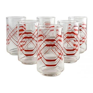 Red & White Cocktail Tumblers - Set of 6