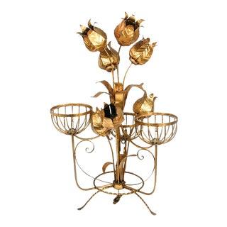 """Monumental Italian Gilt Floral Floor Lamp 54"""" Tall"""