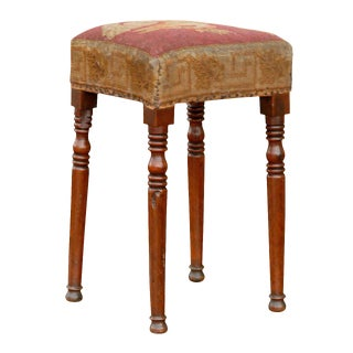 English Yew Wood Stool with Squirrel Themed Needlepoint Upholstery, circa 1860